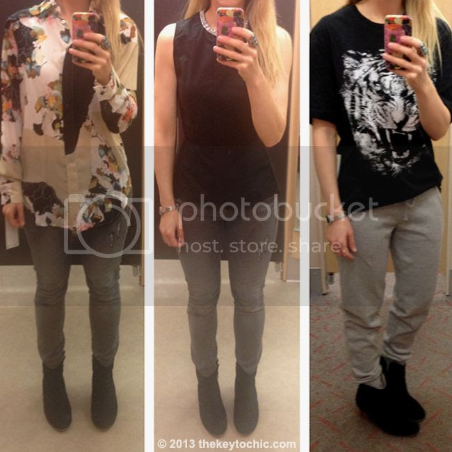 Phillip Lim for Target paper floral print blouse, tiger t-shirt, and black peplum top, Phillip Lim for Target fitting room reviews