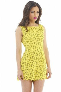 AX Paris Neon Tiny Daisy Yellow Romper