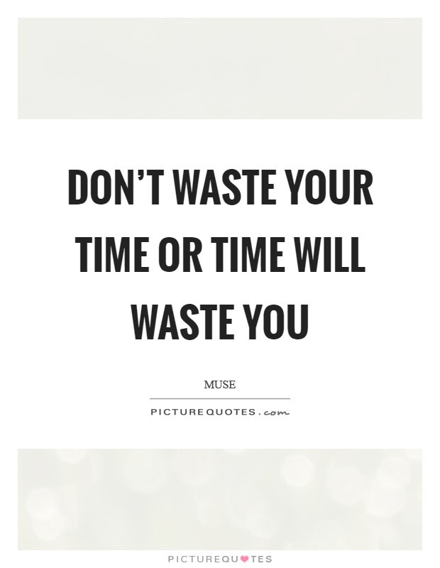 Dont Waste Your Time Or Time Will Waste You Picture Quotes