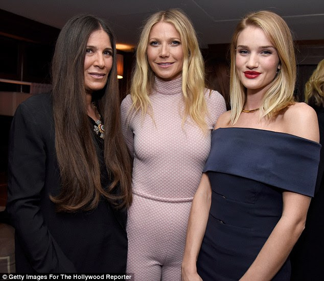 Catching up: The star posed for a photo with stylist Elizabeth Saltzman (L) and Rosie Huntington-Whiteley