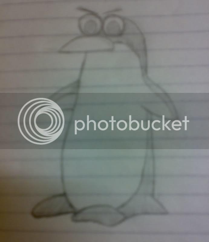 البطريق رسم يدوي