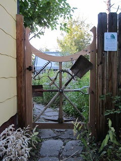 a repurposed garden tool, garden gate