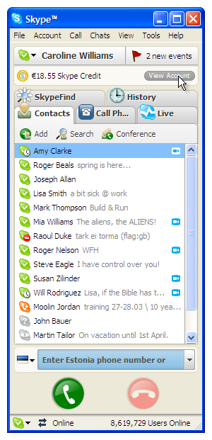 how to search skype history