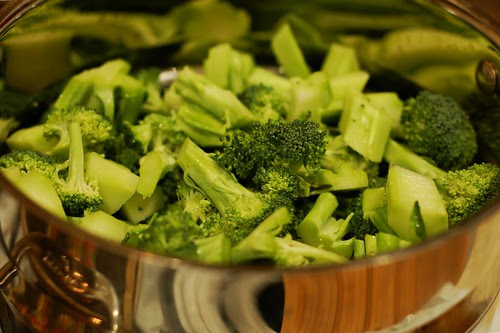 Broccoli in the steamer pot by Eve Fox, the Garden of Eating blog, copyright 2014