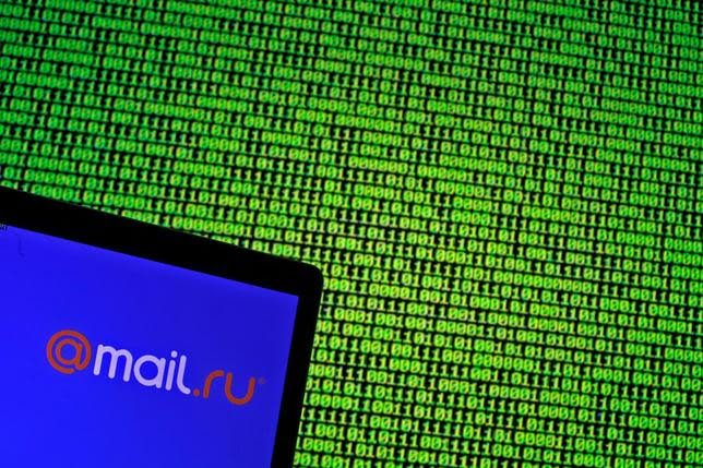 Mail.ru logo is seen in front of a displayed binary code in this illustration taken, May 4, 2016. REUTERS/Dado Ruvic/Illustration