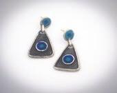 Blue Triangle Earrings - Primitive Design - Sterling Silver - serpilguneysudesigns