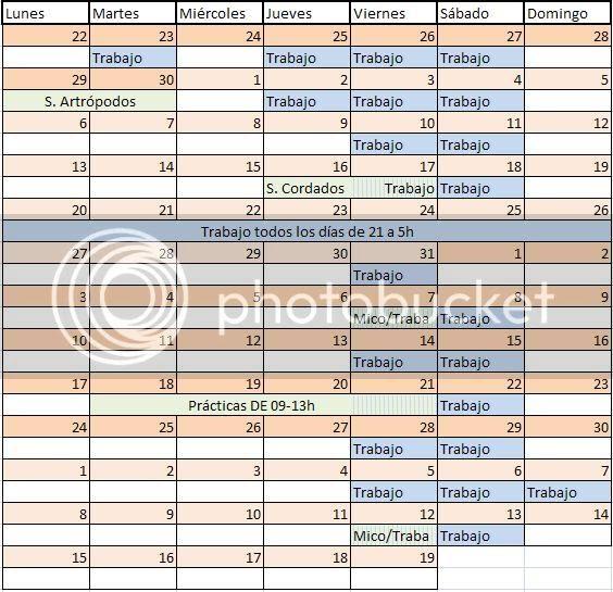 Calendario del primer cuatri.