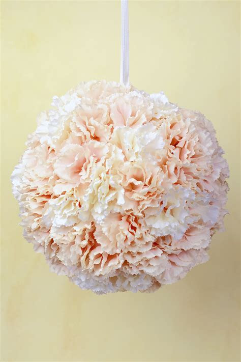 Carnation Flower Ball, 8 Inch Blush & Cream, Hanging