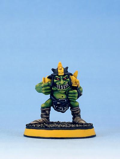 Citadel Miniatures Blood Bowl Goblin with helmet by Kev Adams