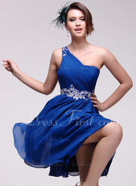 A-Line/Princess One-Shoulder Knee-Length Chiffon Homecoming Dress With Embroidered Ruffle Beading (022016082)