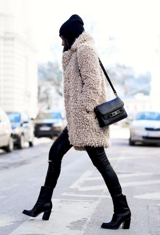 Le Fashion Blog Teddy Coat Blush Shaggy Faux Fur Coat Black Beanie Pronza PS11 Bag Leather Pants Ankle Boots Fall Winter Style Via Fashion Landscape