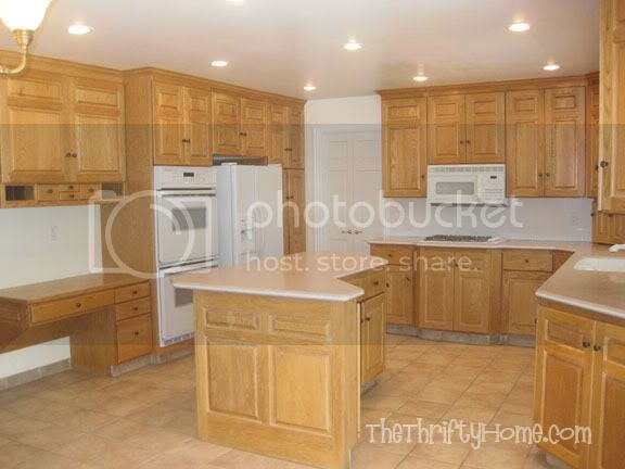 The thrifty home kitchen remodel painting cabinets for Kitchen remodel oak cabinets