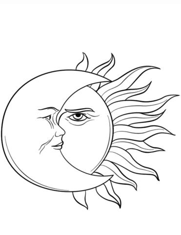 Dibujo De El Sol Y La Luna Para Colorear Dibujos Para Colorear