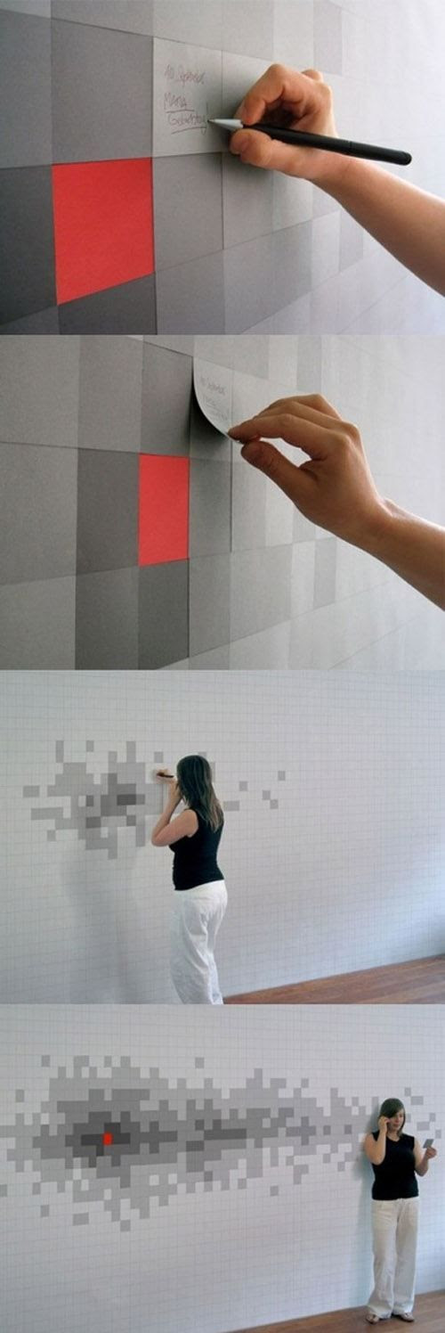 pixilated sticky note wall/art.