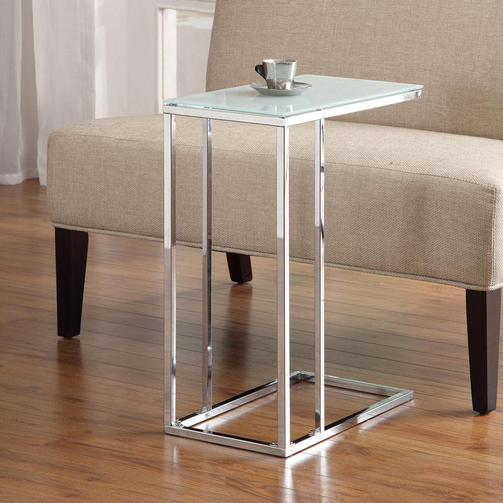 Accent Living Room Chrome Base Snack Side Stand Table Sofa ...