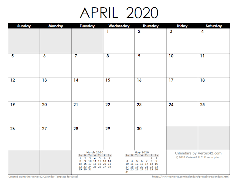Monthly Calendar 2020 Word Template