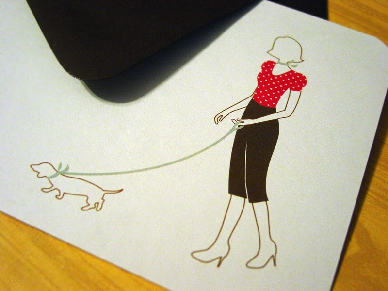 Retro Lady and Daschund Flat Cards