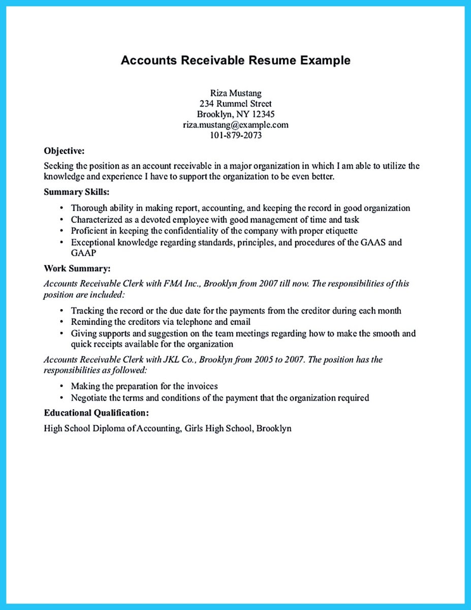 accounts receivable resume examples and accounts receivable supervisor resume