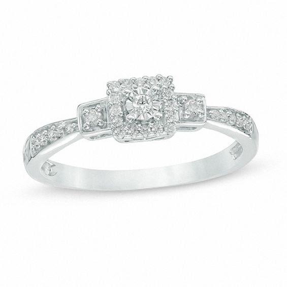 110 Ct Tw Diamond Square Frame Three Stone Promise Ring In 10k