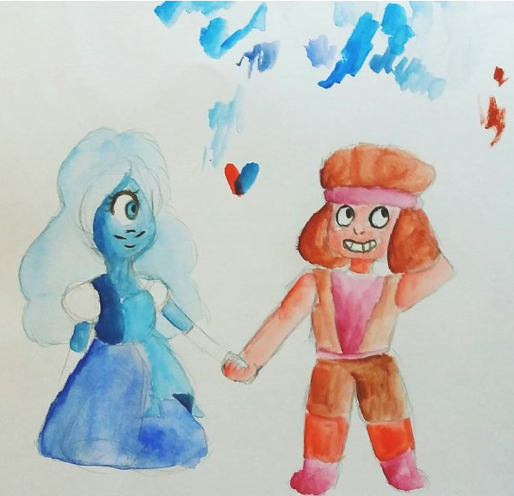 A watercolor doodle of Ruby and Sapphire holding hands. I ship them so much♡♡