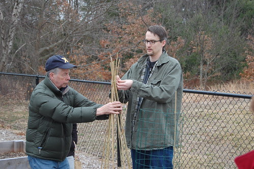 Community Garden: tying off the teepee