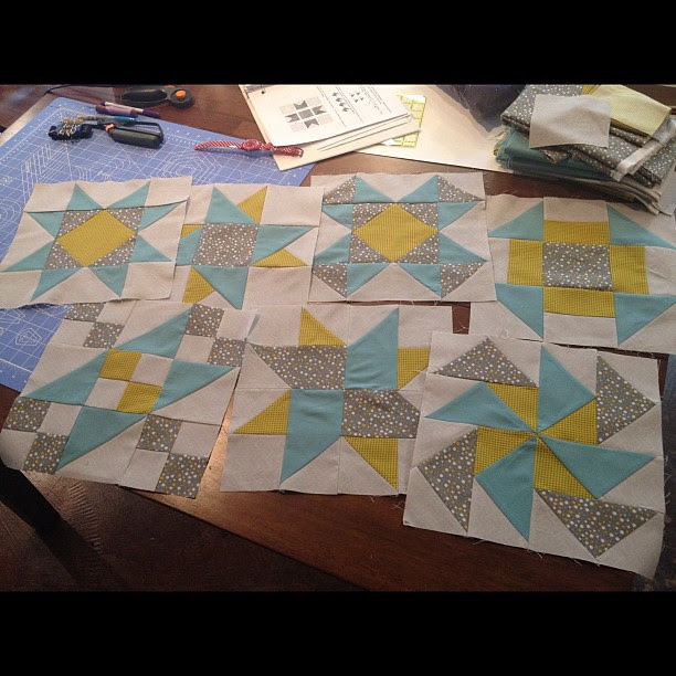 Quilt blocks for my first quilt so far. I like 'em, but think if I use the mustard for the sashing, that's gonna be a loooooooooot of mustard. It's much bolder than i expected. May change sashing to the grey/dots & keep border aqua ... #quilting