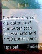 La prima parte dell' sms che chiede un «pensiero» per il dirigente Bonfigli