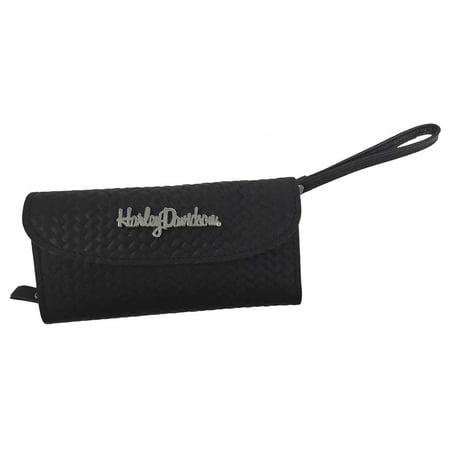 Harley-Davidson Women's Medallion Basket Weave Wristlet Wallet Clutch, BHC825