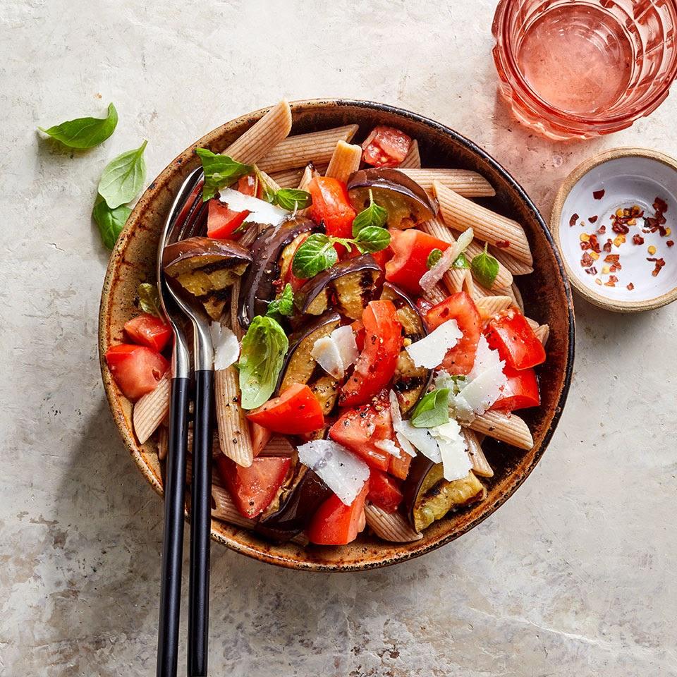 Grilled Eggplant & Tomato Pasta