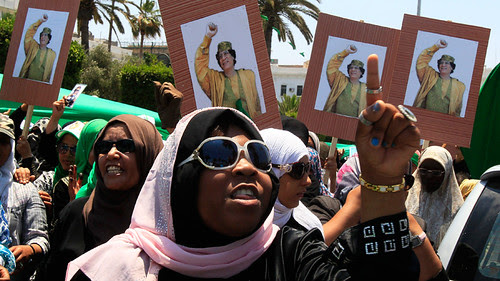 Women in Libya demonstrating in support of the revolutionary government of Muammar Gaddafi. The North African state has been fighting the imperialist onslaught for nearly a year. by Pan-African News Wire File Photos