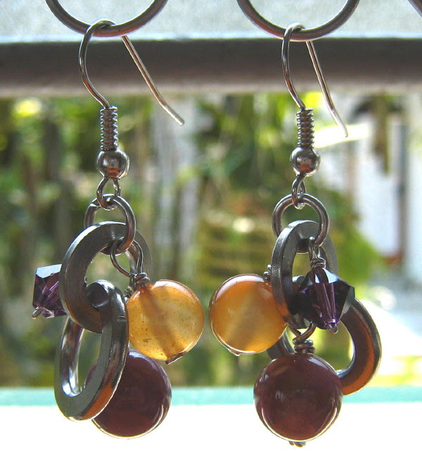 Stainless steel washers earrings wire wrapped with gemstones