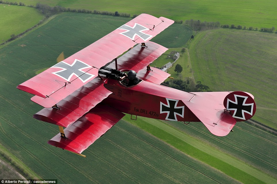 Crowning achievement: While building the plane, the engineer bought a book called How to Build a WW1 Replica AND Stay Married! 'Ironically my wife had time to read it but I didn't,' he said. 'I was too busy working on the plane' - which now flies triumphant over Britain