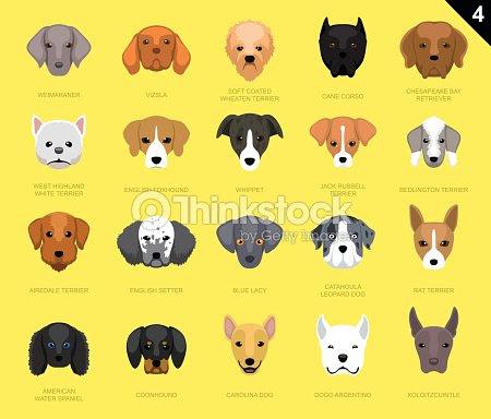 Caras De Perro De Icono De Dibujos Animados 4 Arte Vectorial