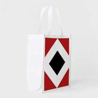 Red, White, Black Diamond Pattern Reusable Grocery Bags