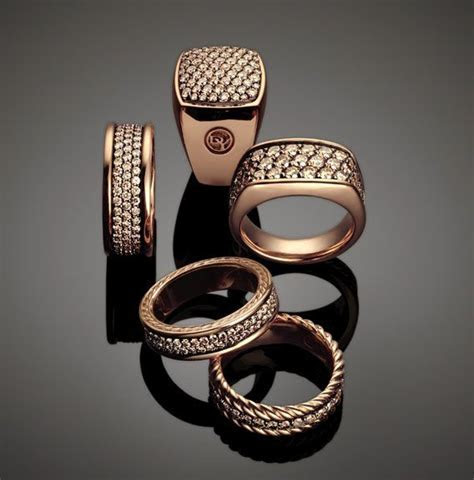 This masculine collection features rose gold, pave
