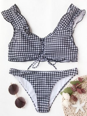 Gingham Lace Up Bralette Bikini Set - White And Black - White And Black Xl