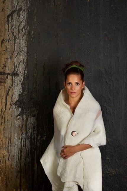white felt and chiffon shawl