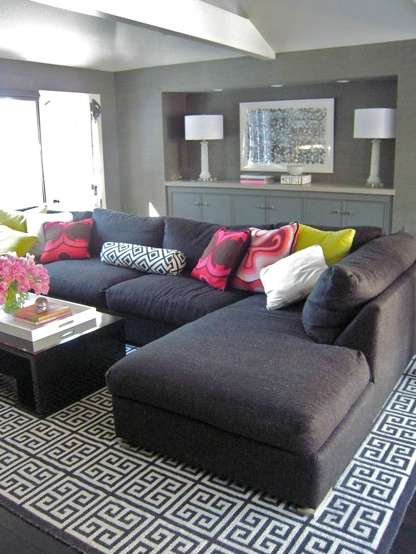 Suzie: Zoldan Interiors - Chic modern gray living room design with charcoal gray sectional sofa ...
