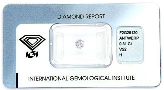 Originalfoto DIAMANT 0,31ct BRILLANT IGI WESSELTON H, VS2 G/G JUWEL!