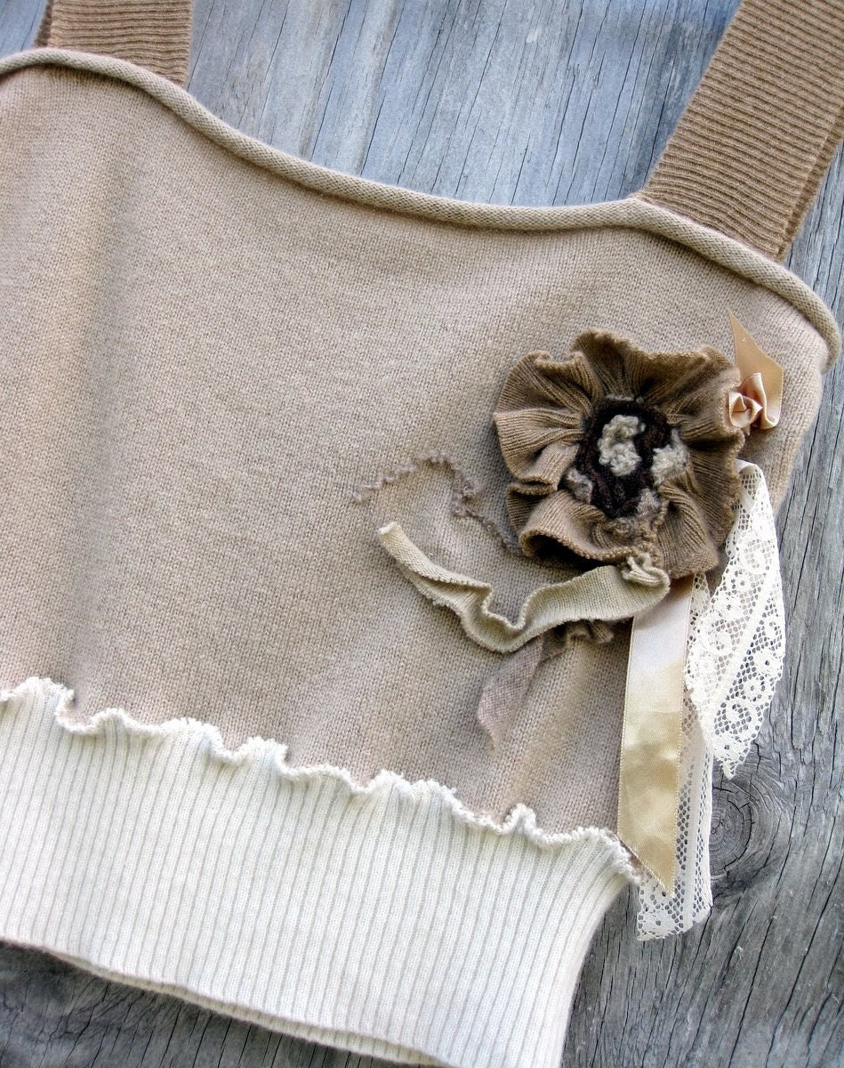 Cashmere Restyle Camisole Sweater Tank in Oatmeal Cream and Taupe Size Small