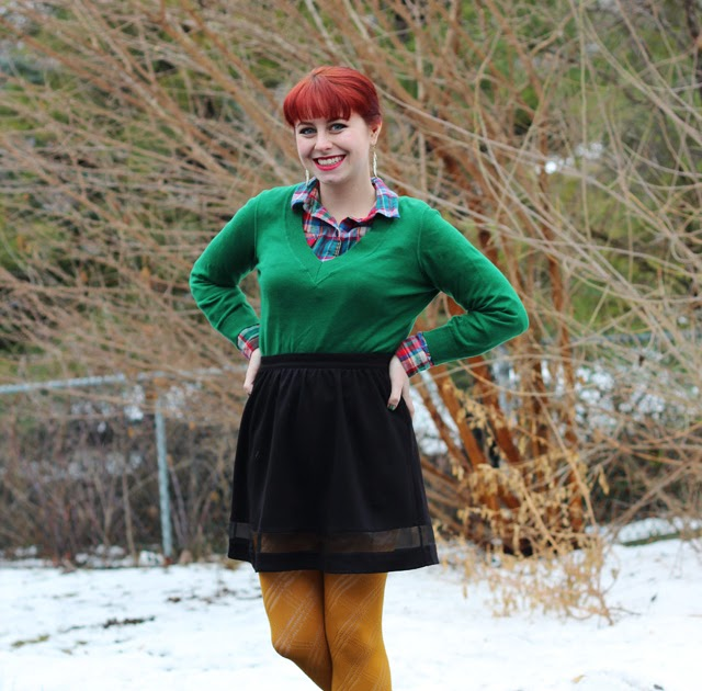 Kelly Green Sweater, Flannel Shirt, Black Skater Skirt ...