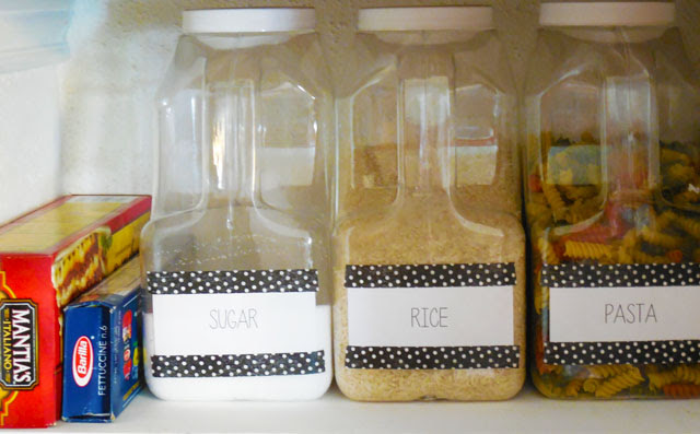 small, organized pantry with labeled containers