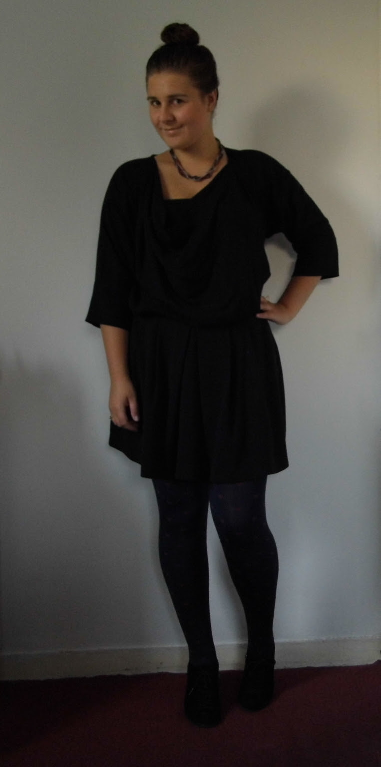 French Connection Blouse & Skater Skirt & Heart Tights & Wedge Shoe Boots