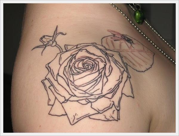 Outline Rose Tattoo On Sleeve