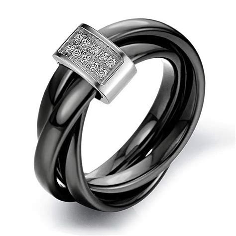 Black Band Engagement Rings for Women   Wedding and Bridal