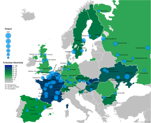 Nuclear output in Europe as a percentage of total electricity usage. An improved version of this.