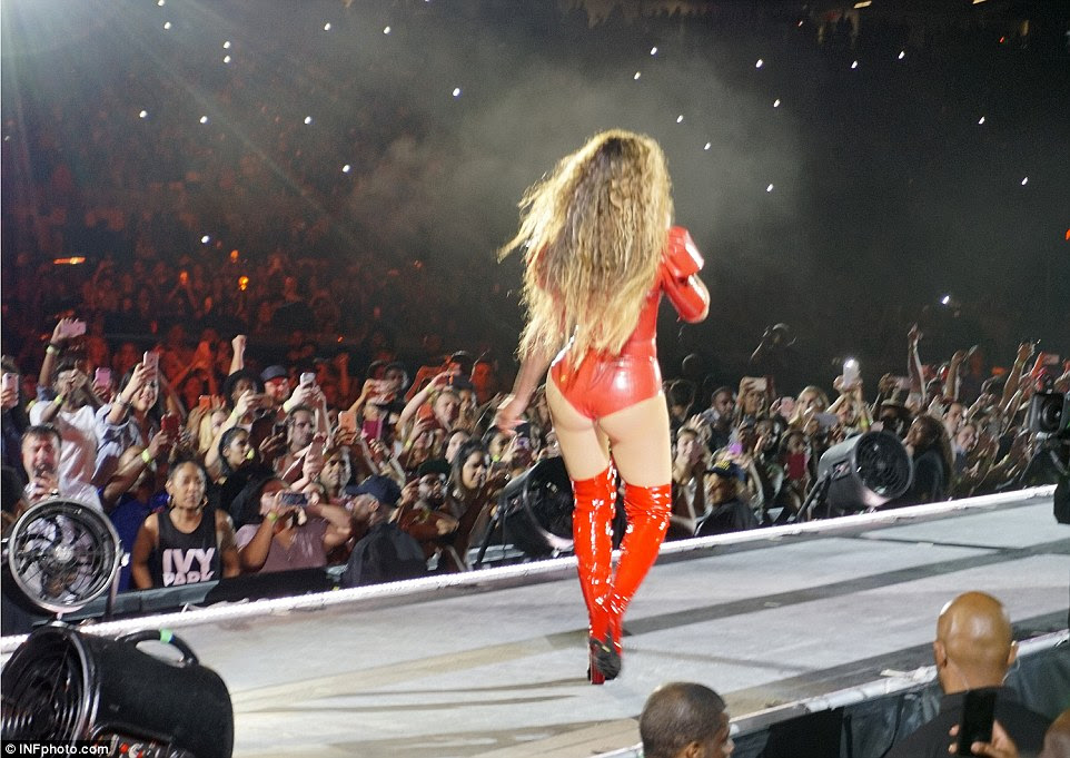 Her BeyHive: The crowd whipped out their phones to get a shot of the star as she strutted down the stage