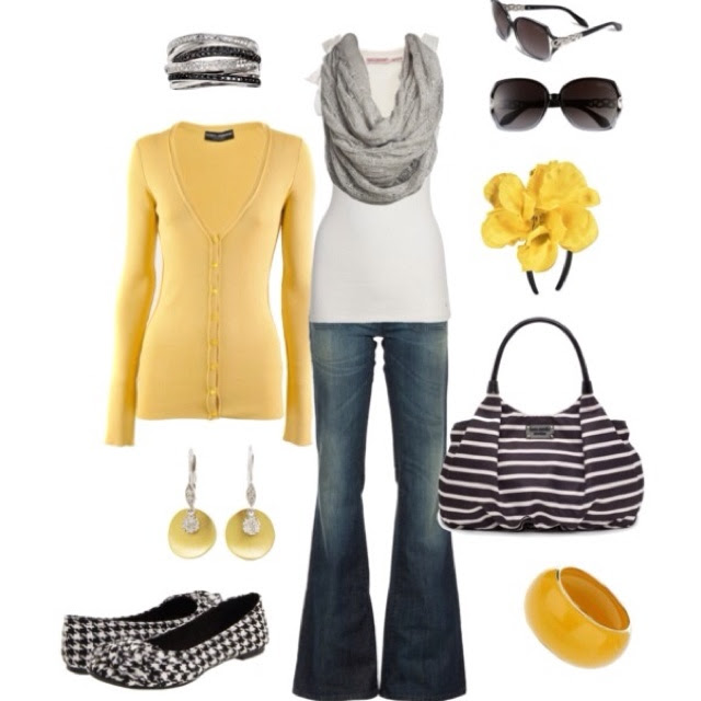 lovin' this yellow and gray outfit!