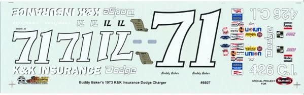 1973 Dodge Charger #71 Buddy Baker 'K & K Insurance' (1/25)