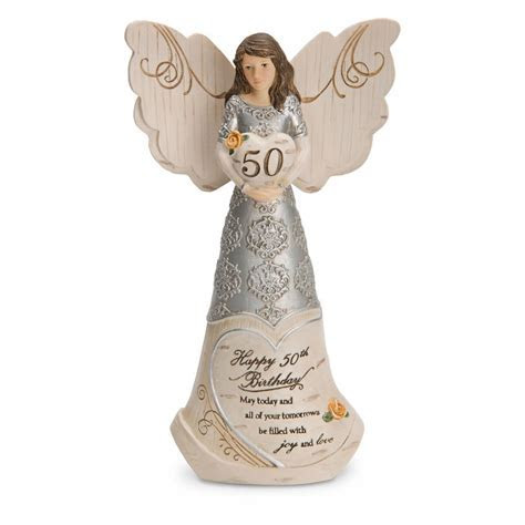 Pavilion Gift Elements 50th Birthday Angel Holding Heart